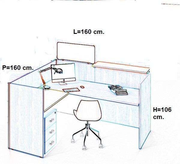 Composizione scrivania reception ufficio operativo economy for Reception scrivania